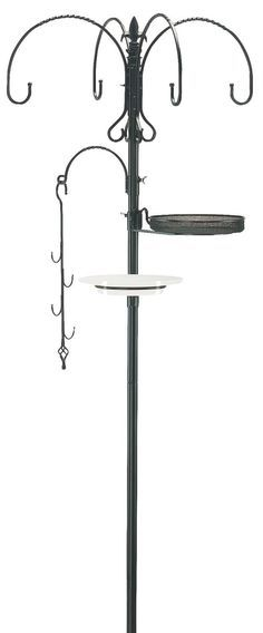 Features: -Kit has a large, round micromesh feeder tray, extra heavy duty feeder pole - 1 diameter steel. -Includes: Decorative Four-Way Hanger with Fleur-De-Lys Finial, Bird Bath Support Ring and L