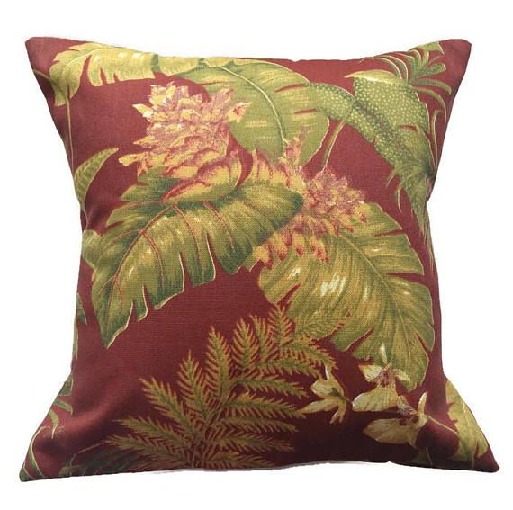 Wine Floral Pillow Cover Dark Red and Green Flowered Cushion