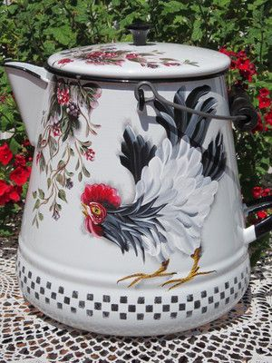 sooooo French country!! blk/wht large enamelware coffee pot, so great for decorating on shelf, table center piece