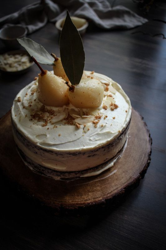 ... almond cake with amaretto poached pears and amaretto mascarpone cream