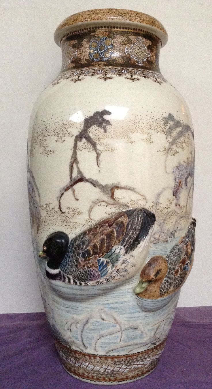 17 best japanese and chinese antique marks images on pinterest two makuzu kozan vases depicting ducks on pond reviewsmspy