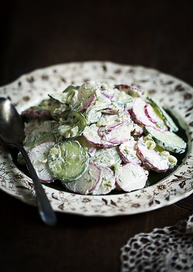 Russian Cucumber and Radish Salad: cucumbers, radishes, green onion, sour cream, dill, s&p