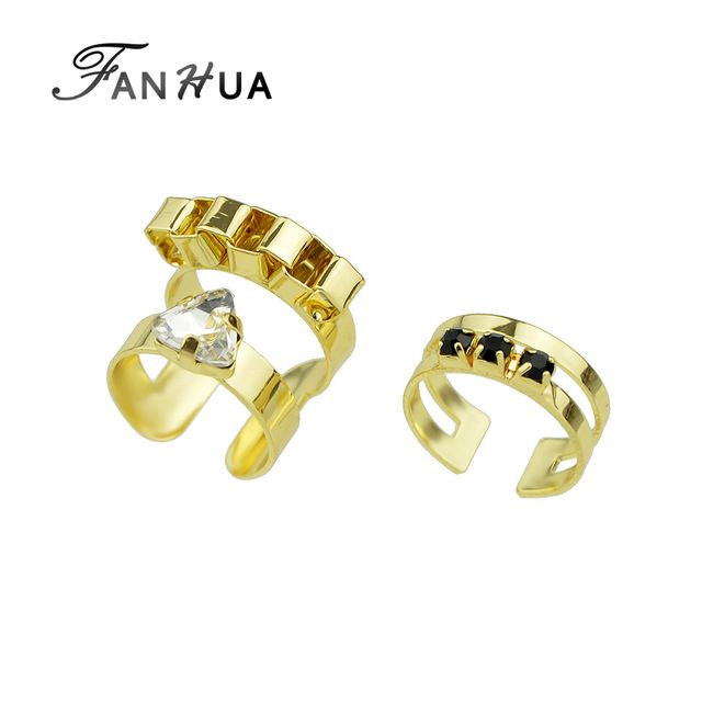 FANHUA 2 шт./setPunk Рок Стиль Золото Серебро Цвет Палец Геометрическая Midi Кольцо для Женщин Новый Дизайнер Bague Femme