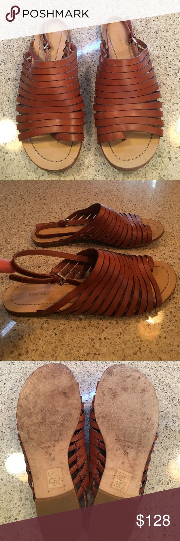 "Sigerson Morrison leather sandal size 5.5 Sigerson Morrison caramel brown leather sandal size 5.5. Adjustable heel strap. Heel height is 1/2"".  Very good condition. Sigerson Morrison Shoes Sandals"