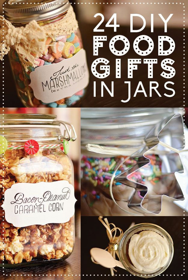 24 Delicious DIY Food Gifts In Jars. These are much more interesting than a lot of Gifts in a Jar I've seen.