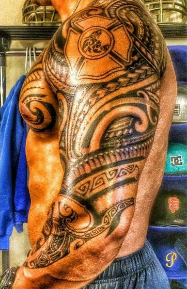 Firefighter Maltese Tribal Tattoo (sleeve and chest) | Shared by LION