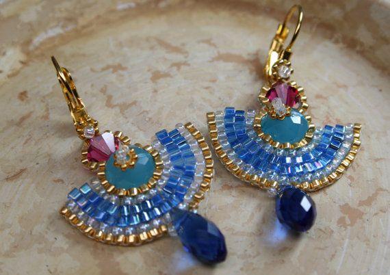 Ägyptische Ohrringe Perlen gewebt