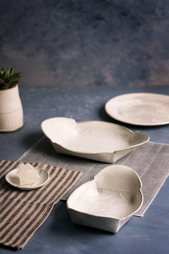 White Ceramic Plate Set , ceramic serving set, Ceramic nesting set ,white serving dish , leaf pattern trays , decorative Serving platters, valentines