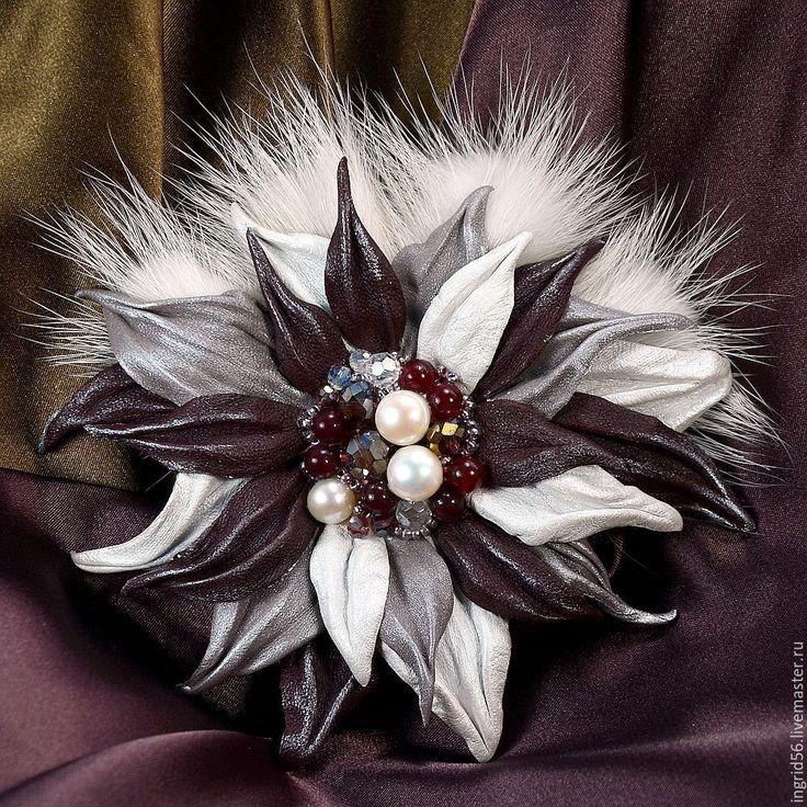 Купить Брошь из  кожи и меха норки Маргарита - 2 (большая) - украшения из кожи