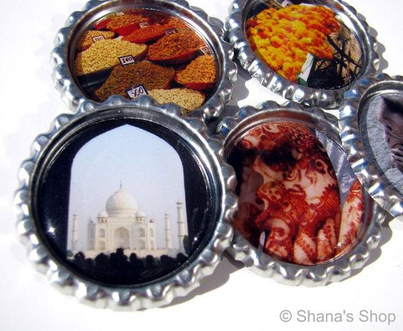 Being in India  Bottle Cap Photo Magnet Set at Shana's