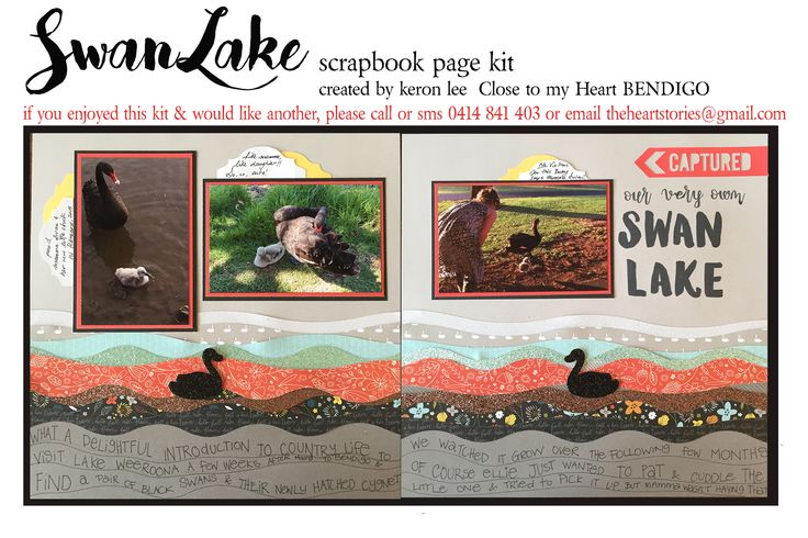 SWAN LAKE kit scrapbook layout kit suitable for all occasions & both genders - Generous alphabet included - so the title can be customized to your photos/event. $18 ea plus flat $10 per order postage w/i Australia - International postage available. Paypal, pay to moblie or direct debit. Email: theheartstories@gmail.com scrapbook kit, paper craft, paper arts, page kit, scrapbook layout, CTMH Swan Lake, easy scrapbooking, mail order kit
