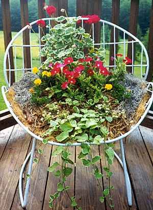 Lots of repurpose container ideas, but I'm loving this old chair - a papasan or open wicker would be perfect too  ********************************************* Faith Love and Flip Flops  #garden #gardens #planter #chair #upcycle #repurpose #DIY #decorative #flowers - tå√