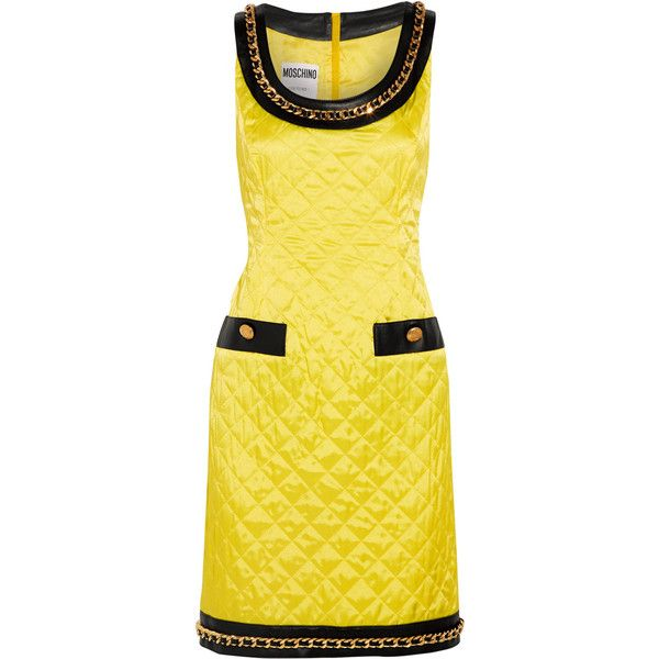 Moschino Chain-trimmed leather-paneled quilted satin mini dress ($755) ❤ liked on Polyvore featuring dresses, yellow, satin mini dress, short dresses, embellished dress, embellished short dress and chain dresses