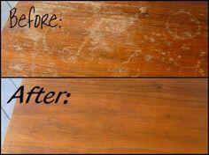 Se você tiver uma mesa de madeira velha com a parte superior toda arranhado e feia, não jogue ela fora, porque ela ainda pode ser salva. Misture ½ xícara de vinagre com ½ xícara de azeite de oliva, molhe um pano na mistura e esfregue sobre a madeira. Os arranhões irão desaparecer completamente e a madeira vai ficar com cara de nova.