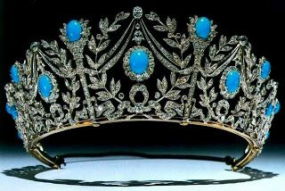 The Persian Turquoise Tiara - was given to Princess Margaret for her 21st birthday from her mom Queen Elizabeth (Queen Mum). it's assumed to be in the hands of her children now, but might have gone back to QEII's royal jewelry waiting to be 'dispersed' to a newer royal family member.