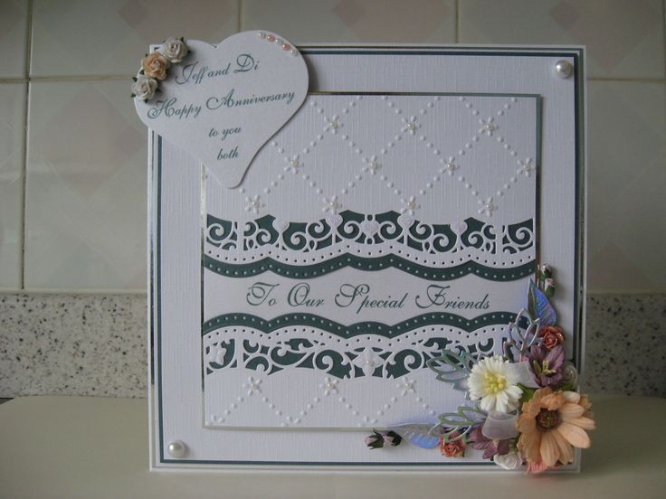 Made for our very good friends using Spellbinders border dies, Crafts Too embossing folder and Wild Orchid flowers