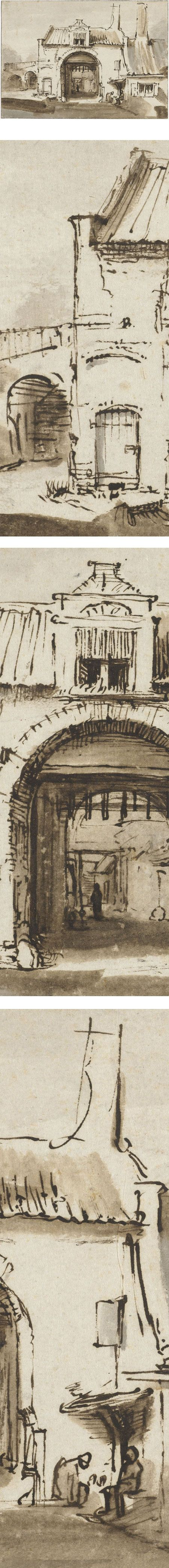 Eye Candy for Today: Rembrandt townscape drawing