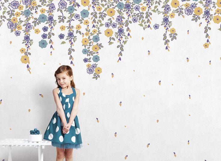 Wallpaper Model DAISY Designed by Valeria Zaltron for Kids Collection 15 | © London Art 2015  www.londonartwallpaper.com www.londonart.it