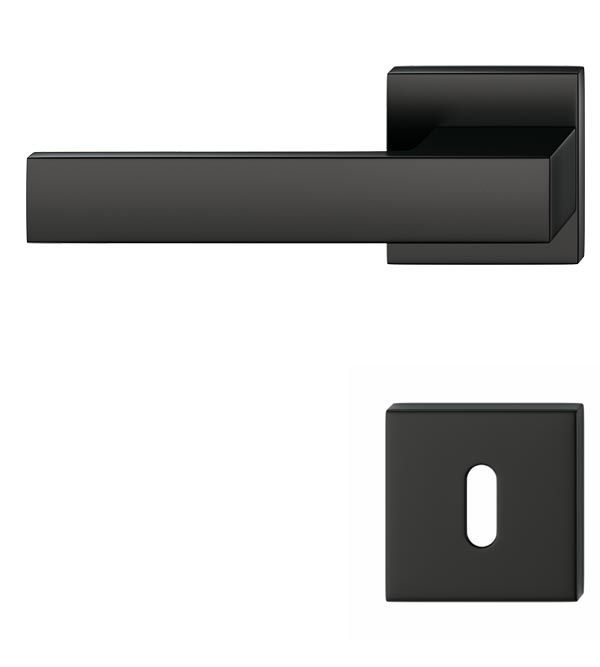 BB-Rosette schwarz quadratische Schloss-Rosette für Zimmertür