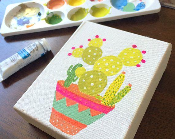 Mini canvas original painting bright cactus pot by DesignDraft