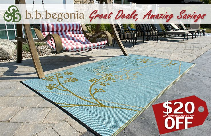 Don't miss out! Get $10 OFF for purchases above $99. Get $20 OFF for purchases above $199. Discount applies to Outdoor Rugs, RV Mats, and our Reusable Shopping Bags. Hurry and visit bbbegonia.com now!