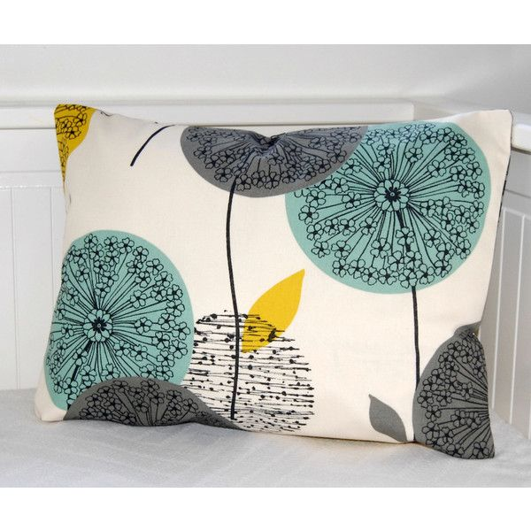 Decorative Pillow Cover Teal Grey Mustard Dandelion Sofa Cushion Lumbar 12 X 18 Inch