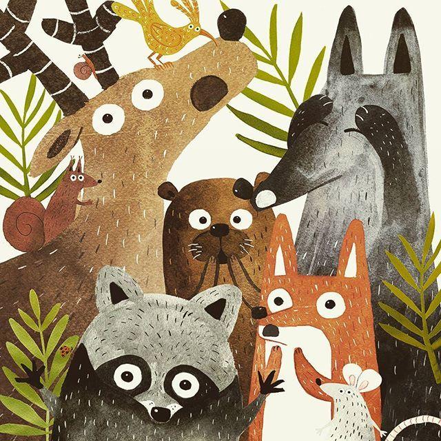 ¡Espanto, horror y terror! Con esta ilu del libro en el que estoy trabajando os deseo un feliz finde ///// These fellows are terrified! This illustration is from the book I'm working on Happy weekend #animals #forest #raccoon #otter #fox #bird #deer #wolf #terrified