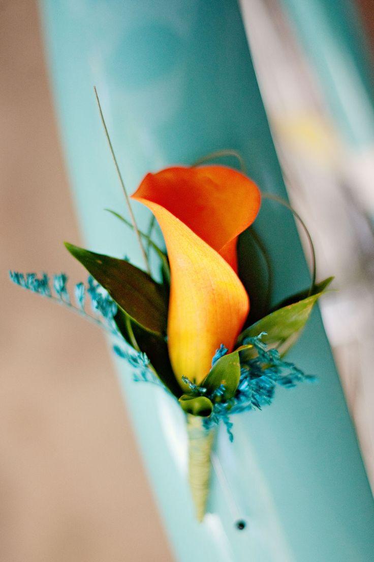 Orange Wedding Flowers (boutonniere) I like this for Jake maybe :)