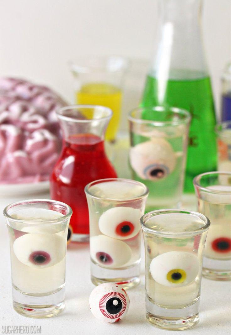 Floating Eyeball Jello Shots - such a cute and easy Halloween dessert!   From SugarHero.com