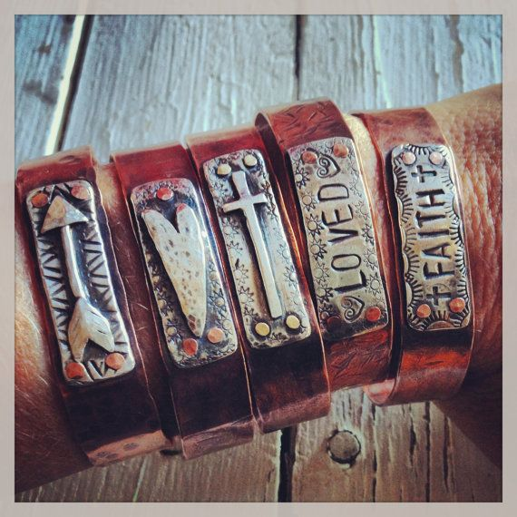 Copper Cuff Rustic Cowgirl Recycled Silver by CrossCanyonCowgirl, $70.00