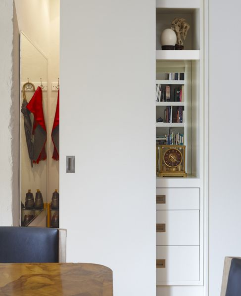 Great For Tight Spaces, A Sliding Door Closet Behind Drawers/shelves