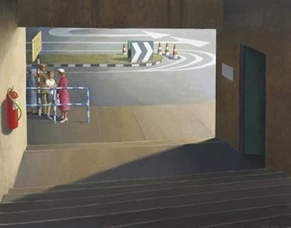 Artwork by Jeffrey Smart, Taxi Stand, Brisbane Art Gallery, Made of oil on canvas