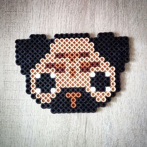 Pug dog perler beads by pixelitospty