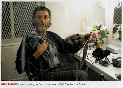 John Glover knitting backstage in the March 12-19 issue of New York Magazine…Love this actor and his hobby!
