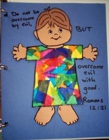 Joseph's coat w/colorful tissue paper
