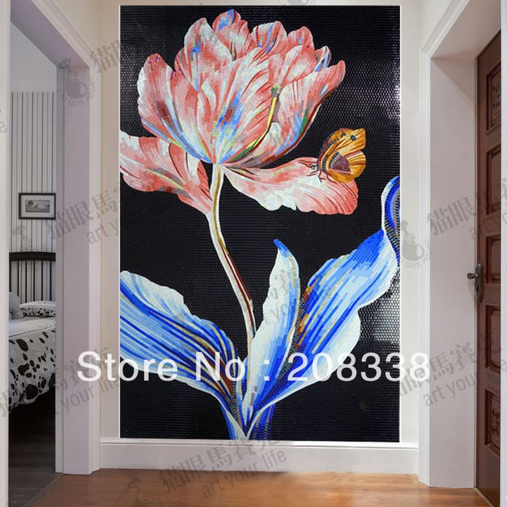 Cheap mosaic tile, Buy Quality glass mosaic tile directly from China tile mosaic mural Suppliers: Magnificent Flowers Glass Mosaic Tile Modern Art Wall Mural