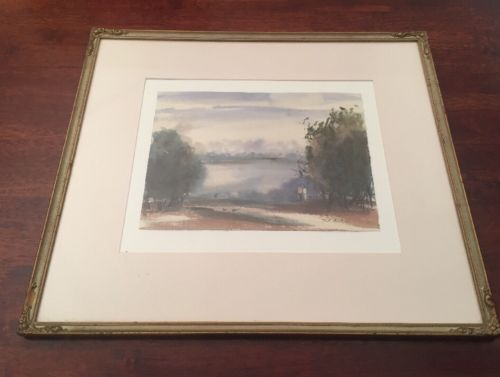 Vintage-Original-Watercolour-Painting-by-Ted-Billson-Lake-View