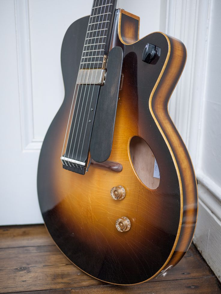 """NK Forster """"Teddy"""" Jazz Guitar 2012. NIGEL SAY: You may be familiar with the """"Charlie"""" and """"Oscar"""", well this is what you get if you cross them. The guitar body is the same as """"Oscar"""" – a large, shallow full bodied jazz guitar. I've added """"Charlie's"""" modern elliptical offset sound hole and my innovative """"long neck"""" design to give you the sort of sustain that just isn't possible with a traditional archtop. BIL SAYS: Buy it here: nigel forster <nigel@nkforsterguitars.com> Pinned 23052015"""