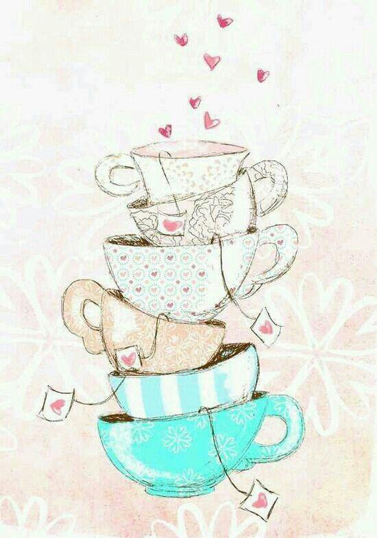 tazas té con corazones