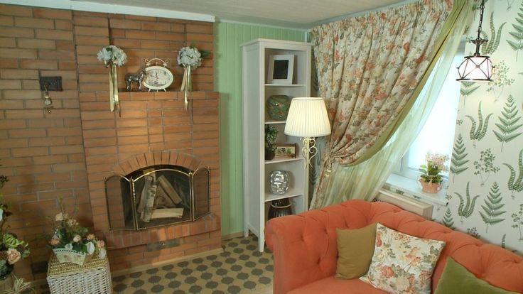 Гостиная, холл в цветах: оранжевый, светло-серый, коричневый, бежевый. Гостиная, холл в стиле прованс.