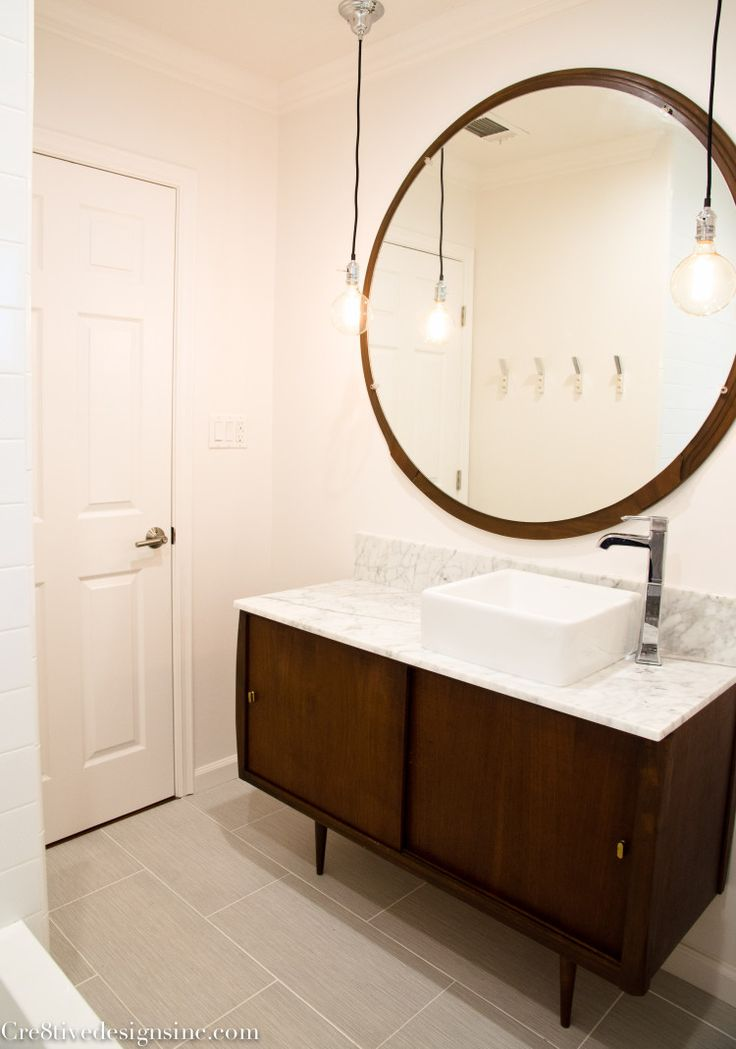 i love this simple look of a mid century modern piece of furniture turned bathroom fabulousness