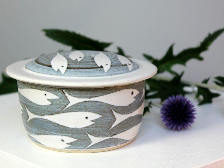 Neil Tregear 'Whitebait' Design Stoneware Lidded Pot available from Signature Ceramics