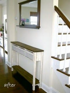 Super Skinny Console Table - DIY - I so need this next to my non-existent entryway. It would solve so many problems and wouldn't block the heat vent.