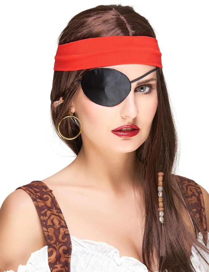 Benda pirata : Questa benda per occhio da pirata è semirigida e ricoperta di tessuto nero satinato (l'orecchino non é incluso)Potrai indossarla facilmente grazie all'apposito elastico.A...