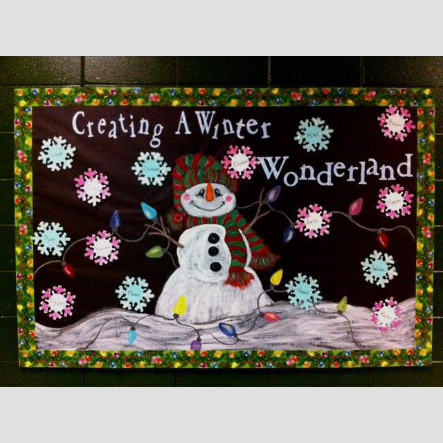 """""""Creating a Winter Wonderland"""" is a great title for a winter bulletin board display that could be used for a wide variety of topics. I love this eye catching and colorful snowman and snowflake classroom display.  Students could write about a wide variety of topics inside their snowflakes."""