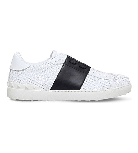 VALENTINO Open Panelled Woven-Leather Trainers. #valentino #shoes #trainers