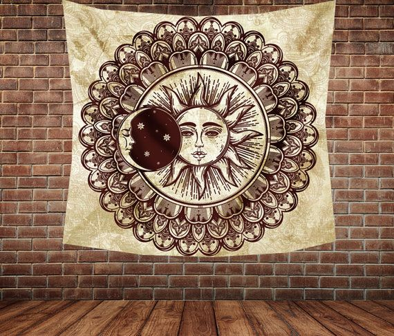 Sun and moon Mandala Wall tapestry wall by Christinedecorshop