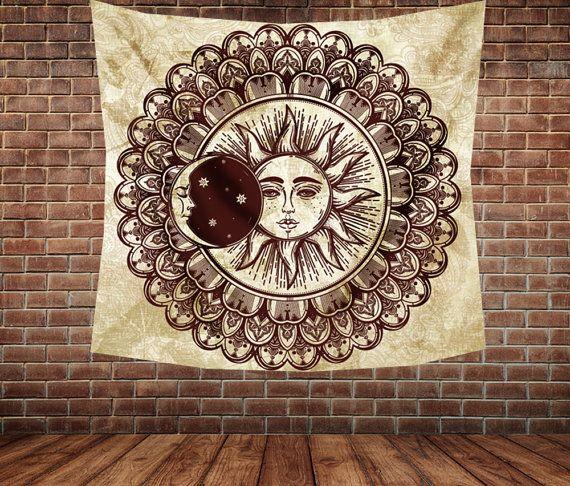 Sun and moon Mandala Wall tapestry wall by Christinedecorshop