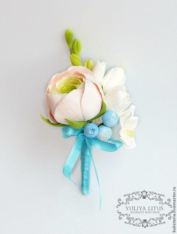 Купить Бутоньерка - бутоньерка, свадьба, свадебные аксессуары, бутоньерка для жениха, бутоньерка свадебная, роза, бежевый