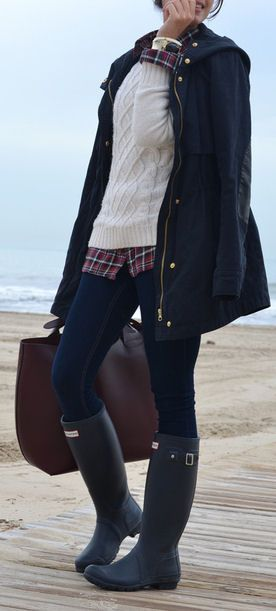 Great Layering & Love the Boots #HUNTER #RainBoots